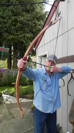 """Archery Recurve Indian Bow """"The Buckskin""""  58in, 45-50lb  @2"""