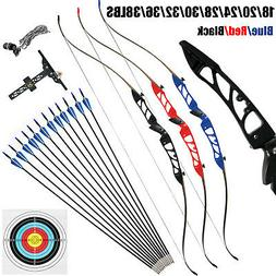 Archery Takedown Recurve Bow Set Hunting 68in 18-38lbs With
